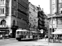 People and tram in Vienna, Austria black and white Royalty Free Stock Photos