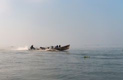 People transportation wooden long boat Stock Photography