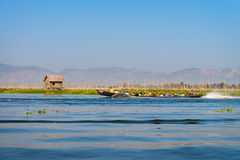 People transportation wooden long boat Royalty Free Stock Photos