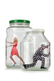 The people trapped in the glass jar Royalty Free Stock Images