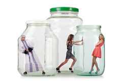 The people trapped in the glass jar Stock Images