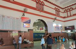 Agra Fort train railway station Agra India. People travel at Agra Fort train station in Agra India Stock Photos