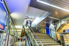 People travel at Alexanderplatz subway station in Berlin Stock Image