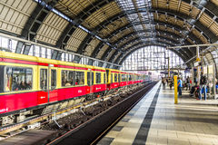People travel at Alexanderplatz subway station in Berlin Royalty Free Stock Image