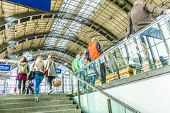 People travel at Alexanderplatz subway station in Berlin Stock Image