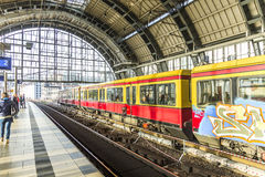 People travel at Alexanderplatz subway station in Berlin Stock Images