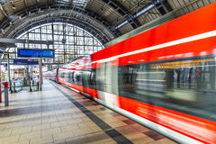 People travel at Alexanderplatz subway station in Berlin Royalty Free Stock Images