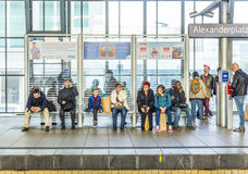 People travel at Alexanderplatz subway station in Berlin Stock Photos