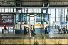 People travel at Alexanderplatz subway station in Berlin Royalty Free Stock Photography