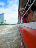 People travel along the river by boat. And see the Attractions Royalty Free Stock Image