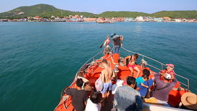 People Travel By Boat Form Pattaya Port Go To Koh Larn Island Chonburi Thailand stock video