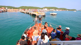 People Travel By Boat Form Pattaya Port Go To Koh Larn Island Chonburi Thailand stock video footage