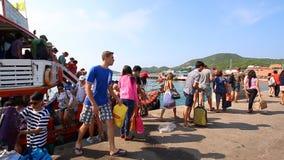 People Travel By Boat Form Pattaya Port Go To Koh Larn Island Chonburi Thailand stock footage