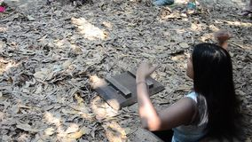 People travel Cu Chi Tunnels. People travel and trying to play entering tunnel at Cu Chi Tunnels on January 23, 2016 in Ho Chi Minh, Vietnam stock video footage