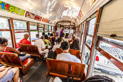 People travel with the famous old streetcar Stock Images