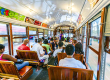 People travel with the famous old Street car St. Charles line Royalty Free Stock Photography