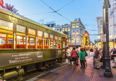 People travel with the famous old streetcar Stock Photography