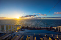 People travel on large ferry in Baltic sea Royalty Free Stock Photo
