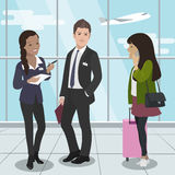 People travel by plane. Airport passengers. Support services. Vector Stock Photo