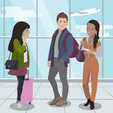 People travel by plane. Airport passengers. Vector Royalty Free Stock Photos
