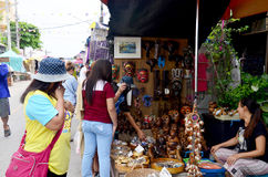 People travel and portrait at Amphawa Floating Market Royalty Free Stock Photo