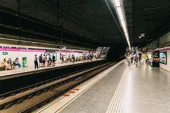 People Travel By Subway Train In Downtown Barcelona City Stock Photos