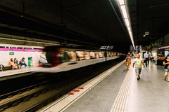 People Travel By Subway Train In Downtown Barcelona City Royalty Free Stock Image