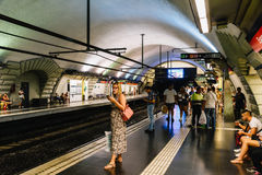 People Travel By Subway Train In Downtown Barcelona City Royalty Free Stock Photography