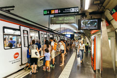 People Travel By Subway Train In Downtown Barcelona City Stock Images