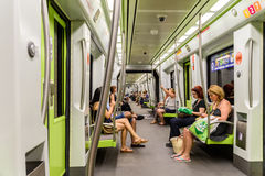 People Travel By Subway Train In Downtown Valencia City Stock Images