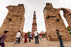 People travel visiting in Qutub Minar Stock Photography