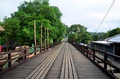 People travel and walk on Saphan Mon wooden bridge in morning ti Royalty Free Stock Image