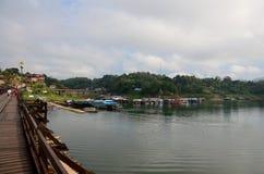 People travel and walk on Saphan Mon wooden bridge in morning ti Royalty Free Stock Photos