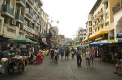 People travel and walking Khaosan Road Royalty Free Stock Images