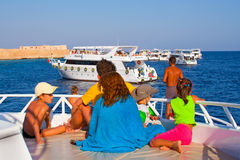 People travel on yacht Royalty Free Stock Photo