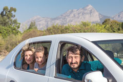 People traveling by Car expressing happiness and excitement Stock Photography