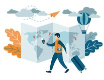 People traveling design. A man with a suitcase holding a passport and airline tickets. Flat Vector illustration royalty free illustration