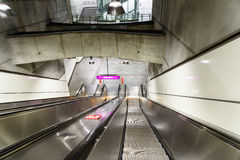 People Traveling On Escalator To Train Subway Station In Downtown Vienna. VIENNA, AUSTRIA - AUGUST 28, 2015: People Traveling On Escalator To Train Subway Stock Image