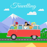 People Traveling by Minibus. Traveling by minibus. Happy young people waving in minibus on background of mountain landscape. Friends on summer trip in classic Royalty Free Stock Image