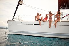 Free People Traveling On A Yacht And Enjoying On Summer Day. Vacation, Holiday, Summer Time Concept Stock Image - 153111461