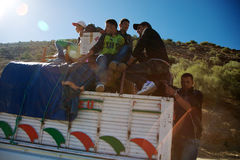 People traveling on a roof truck Royalty Free Stock Photos
