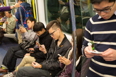 People traveling in the subway in Hong Kong Stock Images