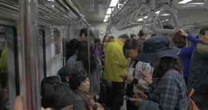 People traveling in subway. Seoul, South Korea stock video