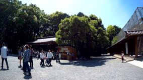 People are traveling in to Meiji Shrine through the wooden gate. stock video