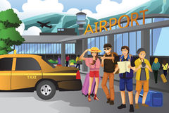 People traveling together. A vector illustration of young people traveling together Royalty Free Stock Image