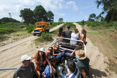 People traveling on a truck to reach Cabo Polonio Royalty Free Stock Image
