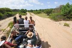 People traveling on a truck to reach Cabo Polonio Royalty Free Stock Photography