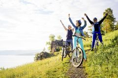 People travelling on a bicycle Royalty Free Stock Images