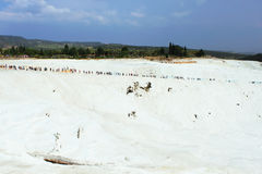 People on travertines of Pamukkale, Denizli, Turkey Royalty Free Stock Image