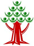 People tree. Isolated line art abstract design stock illustration